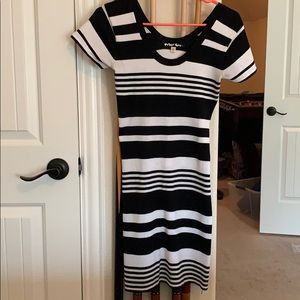 Planet Gold Striped Sweater Dress